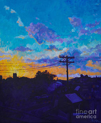 Telephone Poles Painting - Train Side Sunrise by Michael Ciccotello