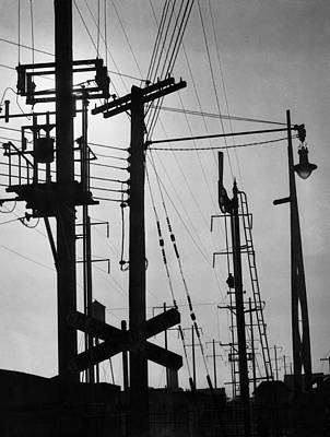Railway Tracks Photograph - Train Signals by Underwood Archives
