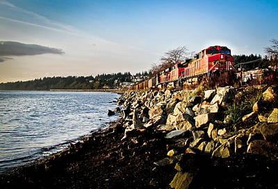 British Columbia Photograph - Train Speeding Through Whiterock by Eva Kondzialkiewicz