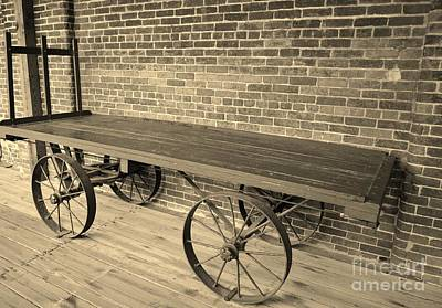 Photograph - Train Station Cart In Beige  by Bob Sample