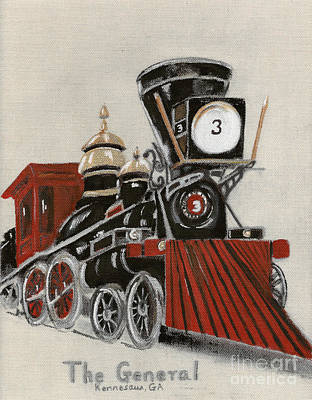 Painting - Train - The General -painted by Jan Dappen