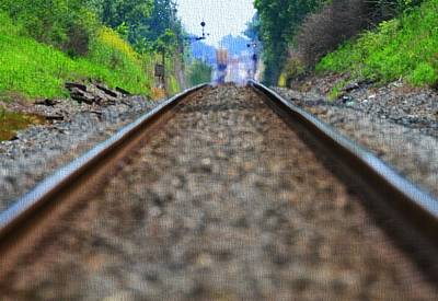 Photograph - Train Track Canvas by Dan Sproul