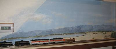 Desert Scape Painting - Train Tracks By Salton Sea by Maria Hunt