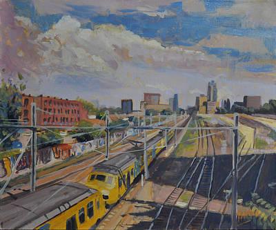 Nederland Painting - Train Tracks Down Town Tilburg by Nop Briex