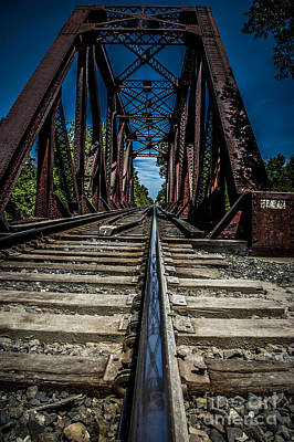 Photograph - Train Trestle And Reflection In Rail by Ronald Grogan