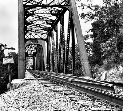 Photograph - Train Trestle In B/w by Edward Hamilton