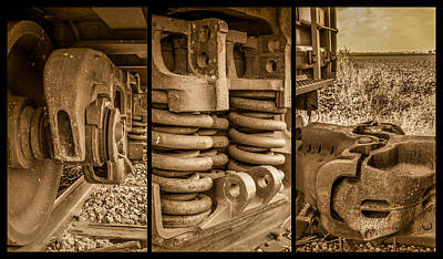 Photograph - Train Triptych Sepia by Ron Pate