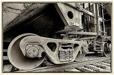 Photograph - Train Wheels Closeup Sepia by Danny Hooks