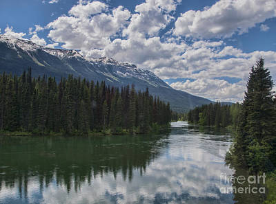 Train Window View Of Lake And Canadian Rockies Art Print