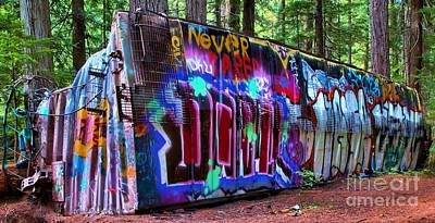 Train Wreck Art In The Woods Art Print by Adam Jewell