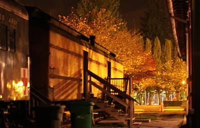 Photograph - Train Yard At Night by Donald Torgerson