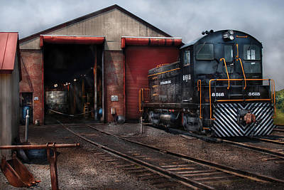 Train Tracks Photograph - Train - Yard - Strasburg Repair Center by Mike Savad