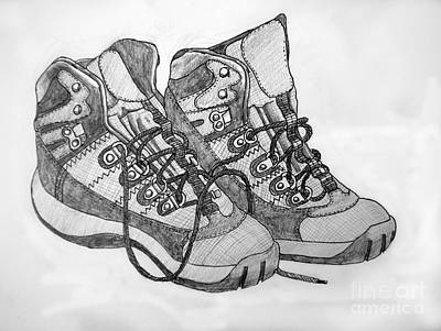 Jogging Drawing - Trainer Footwear by Stephen Brooks