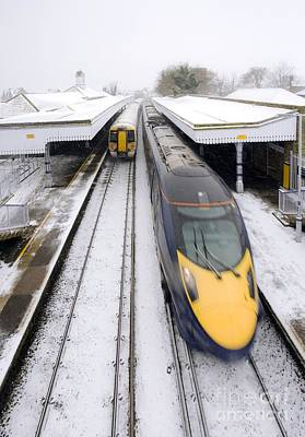 Highspeed Photograph - Trains In Winter by Carlos Dominguez