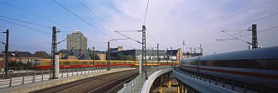Berlin Photograph - Trains On Railroad Tracks, Central by Panoramic Images