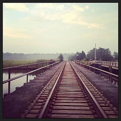 Marsh Photograph - #traintracks #bridge #railroad #morning by A Loving