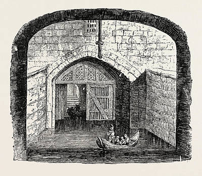 Tower Of London Drawing - Traitors Gate Tower Of London by English School