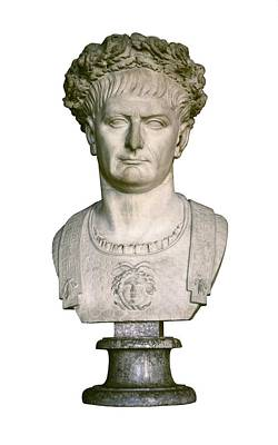Statue Portrait Photograph - Trajan. 98 - 117. Bust With A Laurel by Everett
