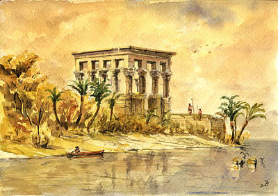 Egypt Painting - Trajan Kiosk Temple Aswan Egypt by Juan  Bosco