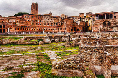 Tourist Attraction Digital Art - Trajan's Market And Forum - Impressions Of Rome by Georgia Mizuleva
