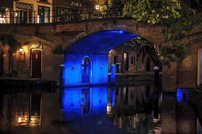 Night Scenes Photograph - Trajectum Lumen Project. Blue Bridge . Netherlands by Jenny Rainbow