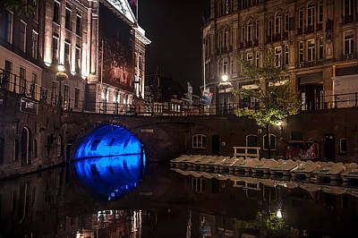 Night Scenes Photograph - Trajectum Lumen Project. Blue Bridge 2. Netherlands by Jenny Rainbow