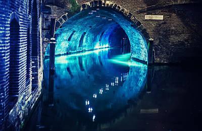 Night Scenes Photograph - Trajectum Lumen Project. Blue Bridge. Netherlands by Jenny Rainbow