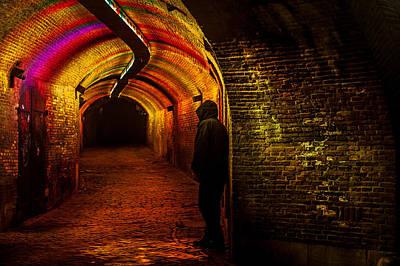 Photograph - Trajectum Lumen Project. Ganzenmarkt Tunnel 9. Netherlands by Jenny Rainbow