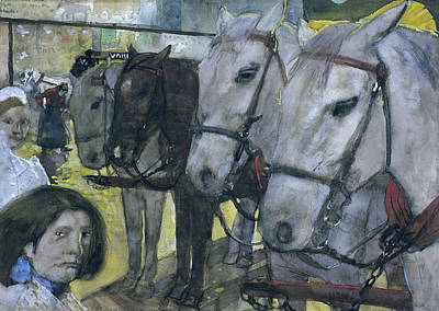 Tram Horses On Dam Square In Amsterdam The Netherlands Print by Quint Lox