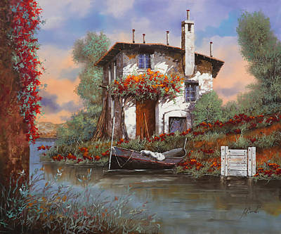 Red Flowers Painting - Tramonto Sul Lago by Guido Borelli