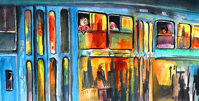 Czech Republic Painting - Tramway Travellers In Prague by Miki De Goodaboom