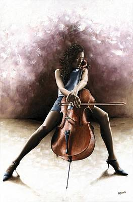Musicians Paintings - Tranquil Cellist by Richard Young