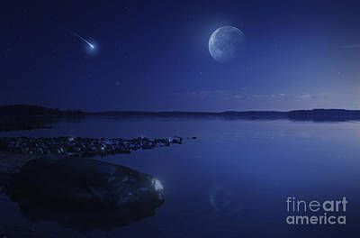 Tranquil Lake Against Starry Sky, Moon Print by Evgeny Kuklev