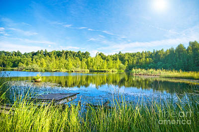 Clear Photograph - Tranquil Lake In The Forest by Michal Bednarek