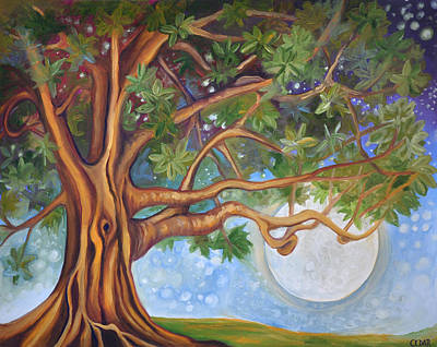 Tree Roots Painting - Tranquil Moonlight by Cedar Lee