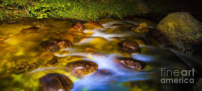 Photograph - Tranquil Scenic Flowing Mountain Stream Over Golden Rocks by Jerry Cowart