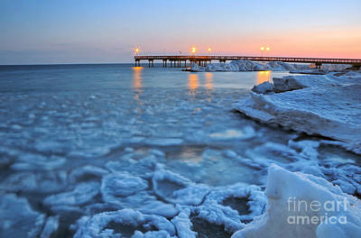 Photograph - Tranquil Winter Pier by Charline Xia