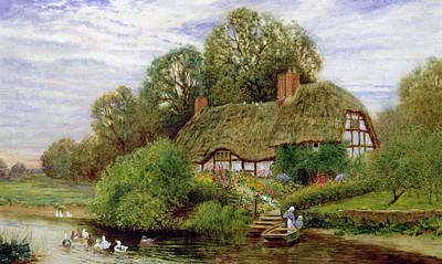 Thatched Cottage Painting - Tranquility by Arthur Claude Strachan