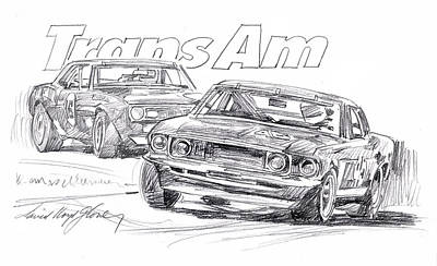 Motorsport Drawing - Trans Am Racing Mustang by David Lloyd Glover