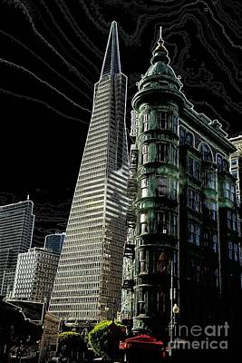 Transamerica And Zoetrope In S F Art Print by David Bearden