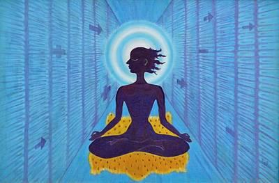 Yoga Pose Painting - Transcendental Meditation by Usha Shantharam