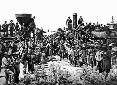 Hands Images Photograph - Transcontinental Railroad by Underwood Archives