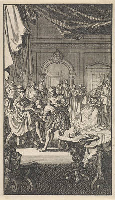 Transfer Of The Spanish Netherlands By Philip II Print by Jan Luyken
