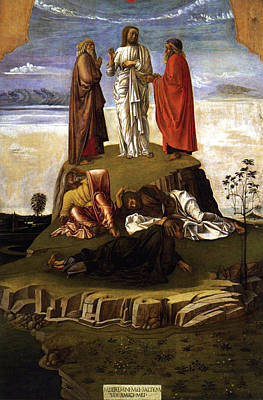 Lamb Of God Painting - Transfiguration Of Christ On Mount Tabor 1455 Giovanni Bellini by Karon Melillo DeVega