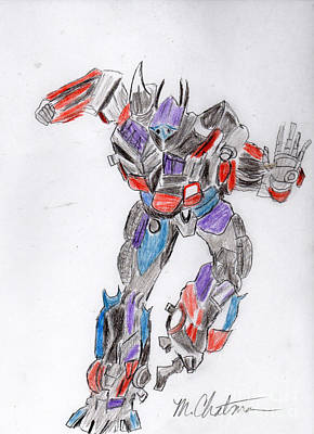 Transformer Drawing - Transformer Art Four by Michael Chatman