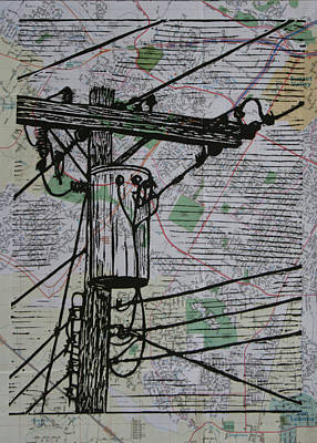 Drawing - Transformer On Map by William Cauthern