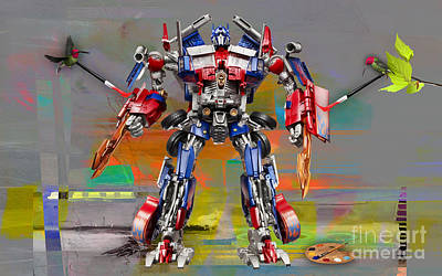 Prime Mixed Media - Transformers Optimus Prime by Marvin Blaine