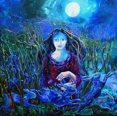 Welsh Goddess Painting - Eostra Holds The Moon by Trudi Doyle