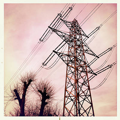 Photograph - Transmission Line With Bare Trees And Red Sky by Matthias Hauser