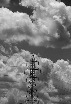 Transmission Tower In Storm Art Print by Dan Sproul
